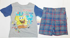 Spongebob Toddler Boys 2pc Plaid Shorts Outfit Sizes 2T, 3T and 4T NWT