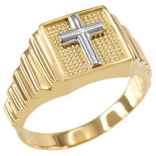Two-Tone Gold Cross Square Religious Men's Ring