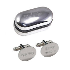 Silver Oval Personalised ENGRAVED Page Boy Wedding Cufflinks