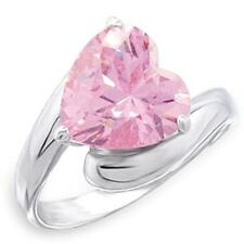 Silver Tourmaline Cocktail Ring Pink Cubic Zirconia Sterling 925 Size 9 10 USA