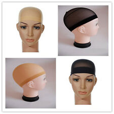 Unisex Stocking Wig Liner Cap Nylon Stretch Elastic Snood Mesh Beige Black 2pcs
