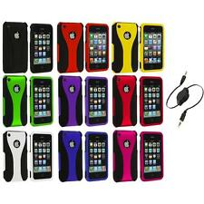 Color Black 3-Piece Rubberized Hard Case+Aux Cable for iPhone 3G 3GS Accessory