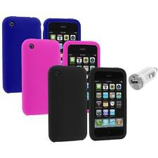 Color Silicone Rubber Gel Skin Case Cover+USB Charger for Apple iPhone 3G 3GS