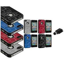 Brushed Metal Aluminum Robot Grid Hard Case Cover+Dock Stylus for iPhone 4 4G 4S