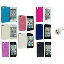 Bling Glitter Sparkly Ultra Thin Hard Back Cover+Dual Charger for iPhone 4 4G