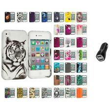 For Apple iPhone 4 4S Hard Design Case Cover Accessory 2.1A Charger