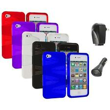 Color 2-Piece Swirl Hybrid Hard TPU Case Cover+2X Chargers for iPhone 4S 4G 4