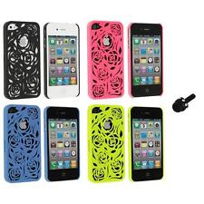 Color Lovely Carving Rose Flower Rear Hard Case+Mini Stylus for iPhone 4 4G 4S