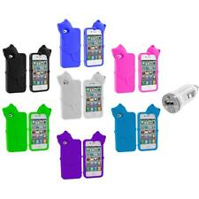 Cat Kitty Color Silicone Skin Case+USB Charger for iPhone 4 4S 4G Accessory