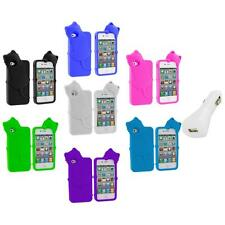 Cat Kitty Color Silicone Skin Case+White Charger for iPhone 4 4S 4G Accessory