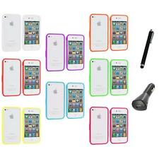 Bumper TPU Solid Jelly Color Rubber Skin Case+Charger+Pen for iPhone 4 4S 4G