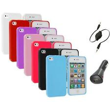 Color Glitter Bling TPU Rubber Soft Case Cover+Aux+Charger for iPhone 4 4G 4S