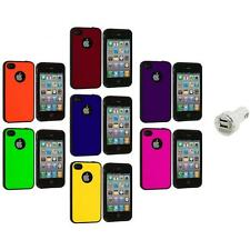 Color TPU Bumper Hybrid Hard Rubberized Case+Dual Charger for iPhone 4 4S 4G