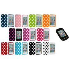 Polka Dot TPU Color Rubber Skin Case Cover+Sticky Pad for Apple iPhone 4 4S 4G
