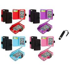 For iPhone 4 4G 4S Color Wallet Leather Folio Case Cover Pouch+Stylus Plug