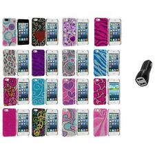 Color Diamond Rhinestone Bling Cute Case Cover+2.1A Charger for iPhone 5 5S