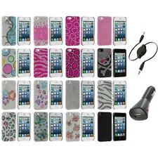 Diamond Rhinestone Bling Ultra Thin Rear Case Cover+Aux+Charger for iPhone 5 5S