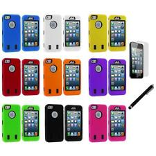 Deluxe Hybrid 3-Piece Hard/Soft Case+Guard+LCD Film+Stylus for iPhone 5 5S
