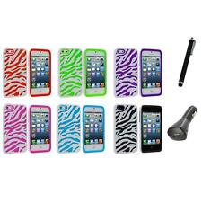 Zebra Hybrid 2-Piece Hard/Soft Case Skin Cover+Charger+Pen for iPhone 5 5S 5th