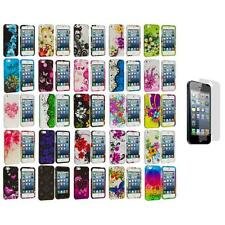 Flower Design Hard Rubberized Case Cover+3X LCD Protector for iPhone 5 5S 5th