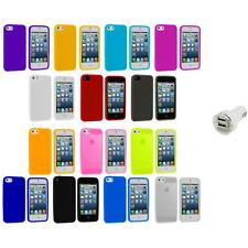 Color Silicone Gel Rubber Soft Skin Case Cover+Dual Charger for iPhone 5 5S