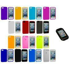 Color Silicone Gel Rubber Soft Skin Case Cover+Sticky Pad for iPhone 5 5S