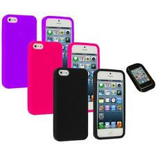 Color Silicone Earth Swirl Rubber Skin Case Cover+Sticky Pad for iPhone 5 5S