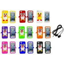 Penguin Cute Silicone Color Rubber Skin Case Cover+Headphones for iPhone 5 5S