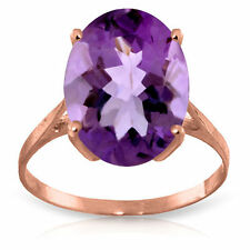 Genuine Amethyst 7.55 ct Oval Gemstone Solitaire Ring 14K Yellow White Rose Gold