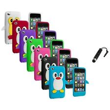 Color Penguin Cute Gel Skin Case Cover+Stylus Plug for iPod Touch 4th Gen 4G