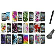 Flower Design Hard Case Cover Accessory+Charger+Pen for iPod Touch 4th Gen 4G 4