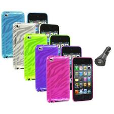 TPU Zebra Rubber Skin Case Cover+Car Charger for iPod Touch 4th Gen 4G 4