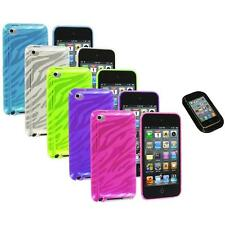 TPU Zebra Rubber Skin Case Cover+Sticky Pad for iPod Touch 4th Gen 4G 4