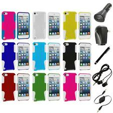 Hybrid Mesh Hard/Soft Skin Case Cover+Accessories for iPod Touch 5th Gen 5G 5