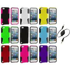 Hybrid Mesh Color Hard/Soft Case Cover+Aux Cable for iPod Touch 5th Gen 5G 5
