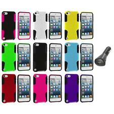 Hybrid Mesh Color Hard/Soft Case Cover+Car Charger for iPod Touch 5th Gen 5G 5