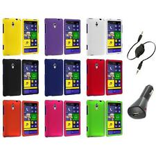 For HTC Windows Phone 8XT Color Hard Snap-On Rubberized Case Cover+Aux+Charger