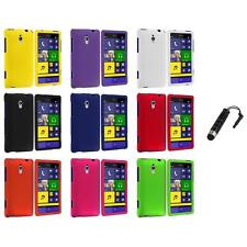 For HTC Windows Phone 8XT Color Hard Snap-On Rubberized Case Cover+Stylus Plug
