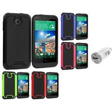 For HTC Desire 510 Hybrid Armor Rugged Hard Case Cover Accessory USB Charger