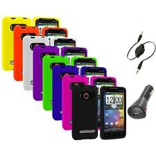 Color Silicone Gel Soft Case Cover+Aux+Charger for HTC Sprint EVO 4G Accessory