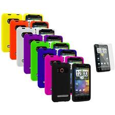 Color Silicone Gel Case Cover+3X LCD Protector for HTC Sprint EVO 4G Accessory