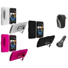 Color Hard Slide Snap-On Case Cover Holster Stand+2X Chargers for HTC One M7