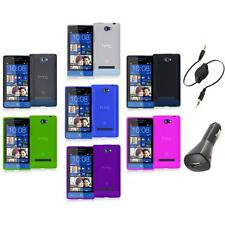 Color TPU Plain Case Cover Accessory+Aux+Charger for HTC Windows Phone 8S