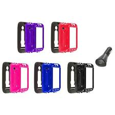 Hybrid Rugged Hard/Soft Case Cover Stand+Car Charger for Huawei Ascend 2 II M865