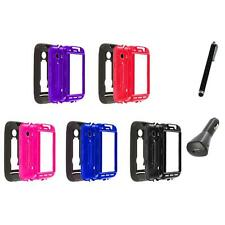 Hybrid Rugged Hard/Soft Case Cover Stand+Charger+Pen for Huawei Ascend 2 II M865