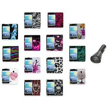 For LG Lucid 2 VS870 Color Hard Design Rubberized Case Cover+Car Charger