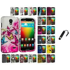 For LG Lucid 3 VS876 Hard Design Snap-On Case Cover Accessory Stylus Plug