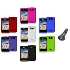 Color Hard Snap-On Rubberized Skin Case Cover+Car Charger for LG Motion 4G