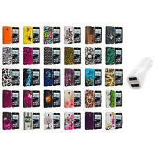 For LG Optimus F6 Hard Design Snap-On Rubberized Skin Case Cover Car Charger