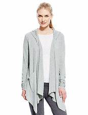 Marks & Spencer Womens Hooded Waterfall Cardigan New Grey M&S Hoodie Sweat Top